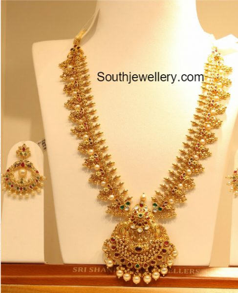 Antique Gold Haram And Chandbalis Jewellery Designs