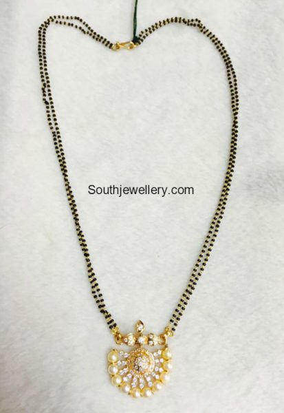 Two line black beads chain with diamond pendant