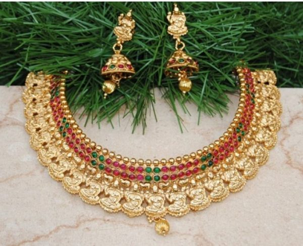 Gold Plated Lakshmi Goddess Kemp Stone Necklace Set
