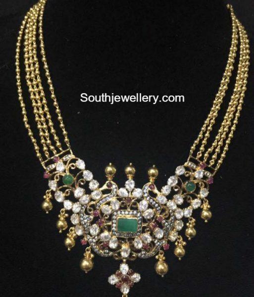 gold-balls-chain-polki-diamond-pendant