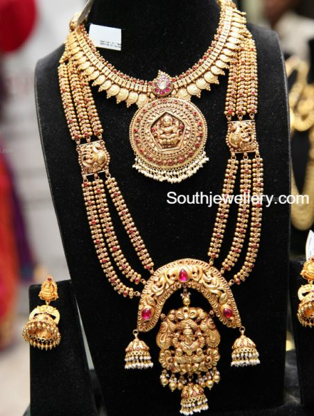 Antique Gold Kasu Necklace and Step Haram by Manepally