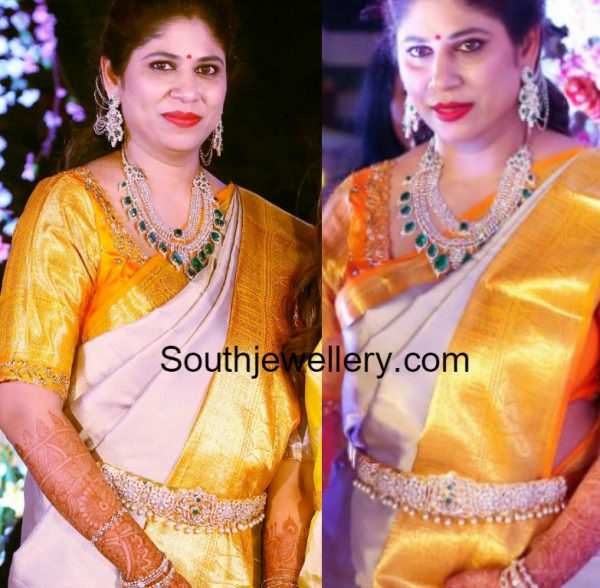 Swetha Reddy in Diamond Emerald Haram Set
