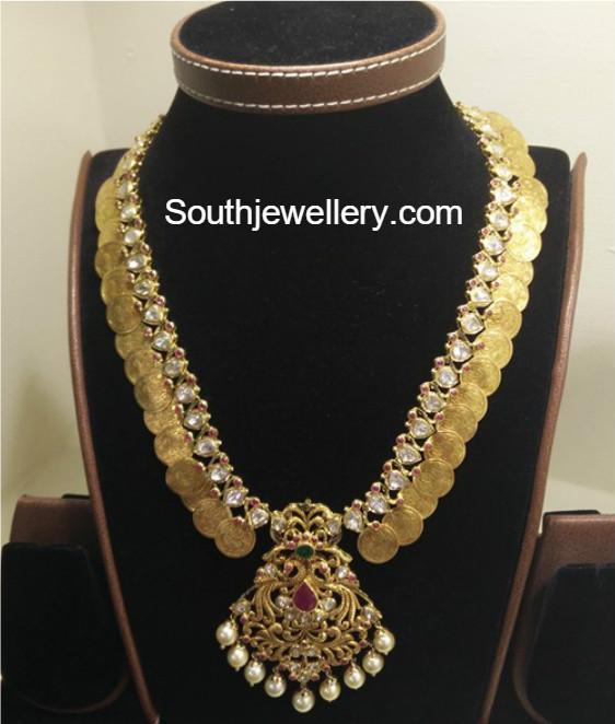 Flat Diamond Lakshmi Kasu Mala Jewellery Designs
