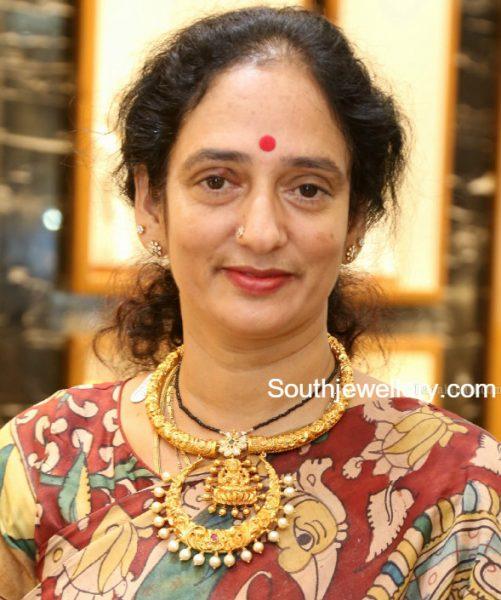 Antique Gold Nakshi Choker with Lakshmi Pendant