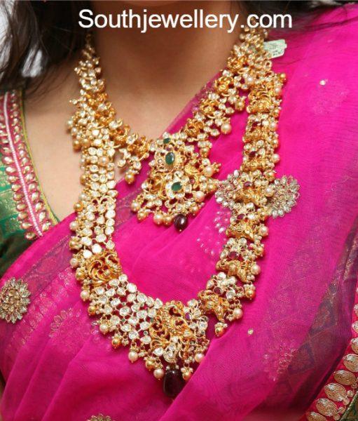 Uncut Peacock Jewellery Set by Manepally