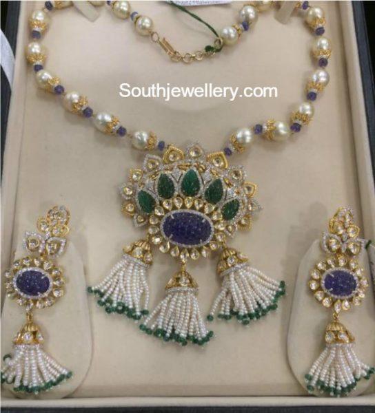 South Sea Pearls Necklace with Diamond Kundan Pendant