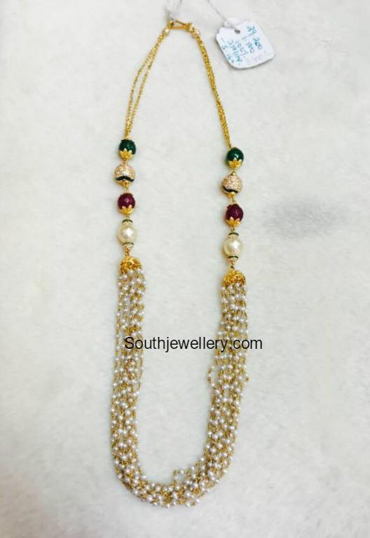 pearl beads mala jewellery designs