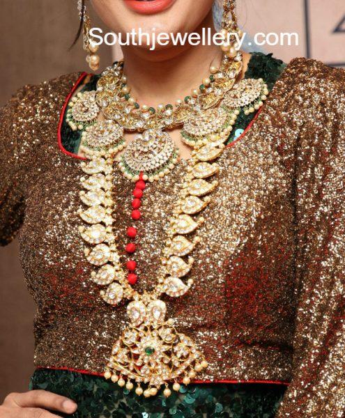 Polki Diamond Necklace and Mango Mala