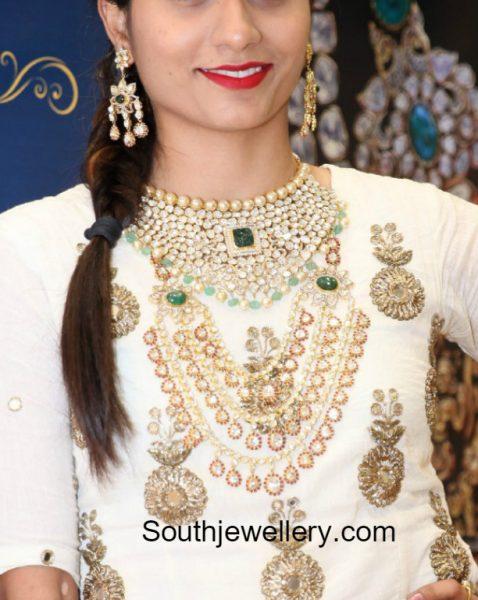 Polki Diamond Choker and Layered Haram by PMJ Jewels
