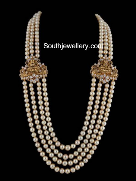 South Sea Pearls Mala with Lakshmi Side Pendants