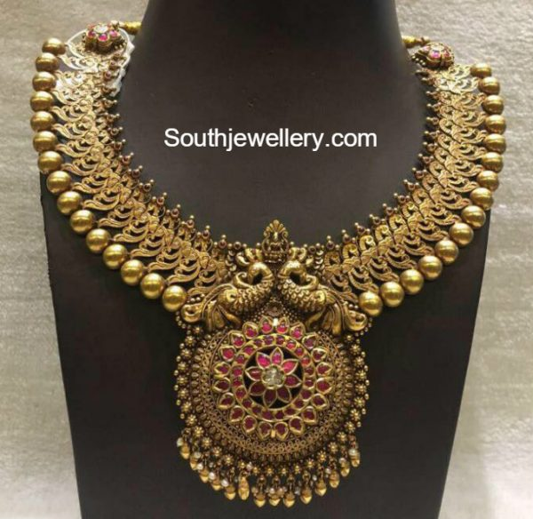 Antique Gold Peacock Necklace Indian Jewellery Designs