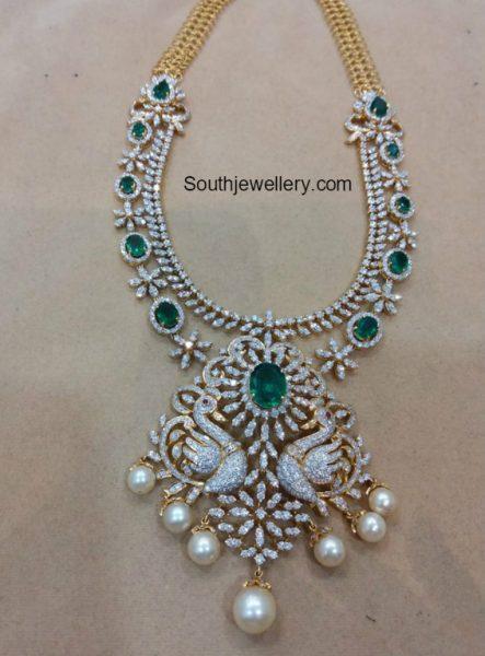 Diamond Emerald Haram with Swan Pendant