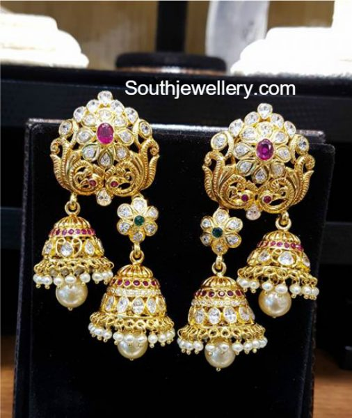 Uncut Diamond Double Jhumki Earrings