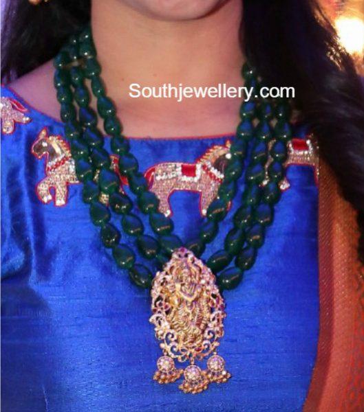 Emerald Beads Mala with Lord Krishna Pendant