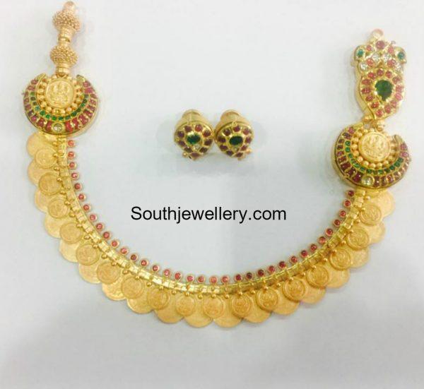 Lakshmi Kasu Necklace with Kundan Side Pendants