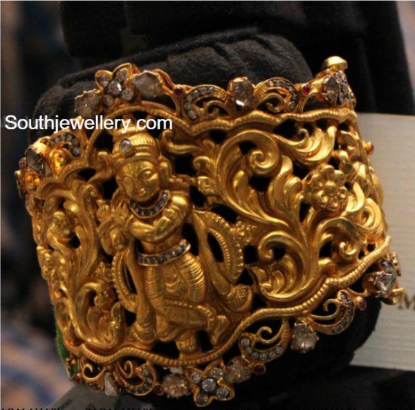 Lord Krishna Antique Gold Kada