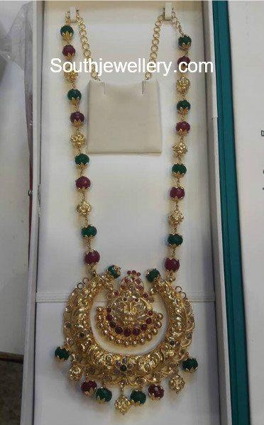 Antique Gold Mala with Chandbali Pendant