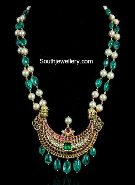 Emerald and Pearls Mala with Kundan Pendant