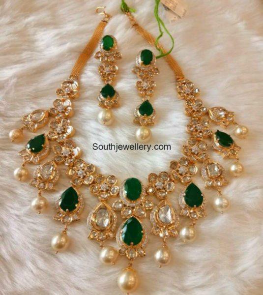 Emerald Polki Diamond Necklace Set