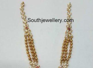 gold balls necklace diamond pendant