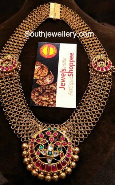 Gold Links Haram with Kundan Pendant