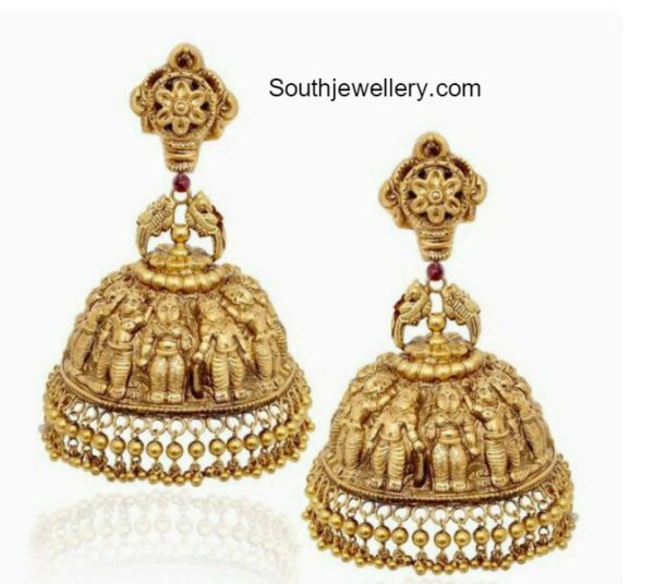 Antique Gold Nakshi Jhumkas