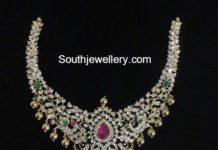 diamond peacock necklace