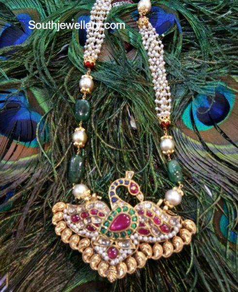Pearls Mala with Kundan Peacock Pendant