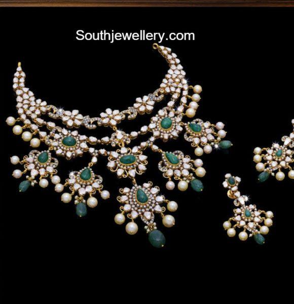 Polki Diamond and Emerald Step Necklace