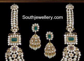 polki diamond south sea pearl mala