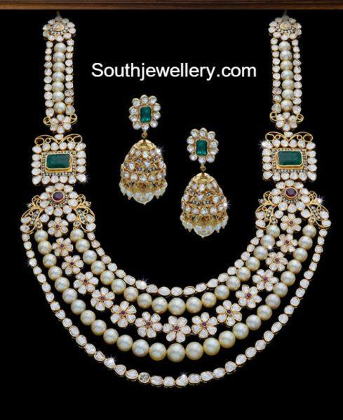 Uncut Diamond  South Sea Pearls Mala and Jhumkas
