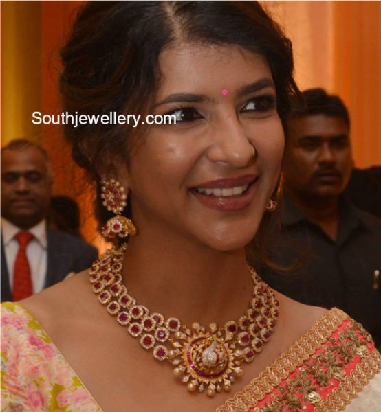 Lakshmi Manchu in Ruby Diamond Necklace Set