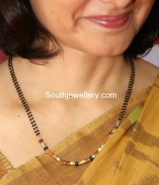 Amala Akkineni in a simple black beads mangalsutra chain