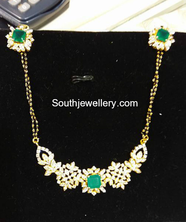 Black beads mangalsutra chain with diamond pendant jewellery designs black beads mangalsutra aloadofball Gallery