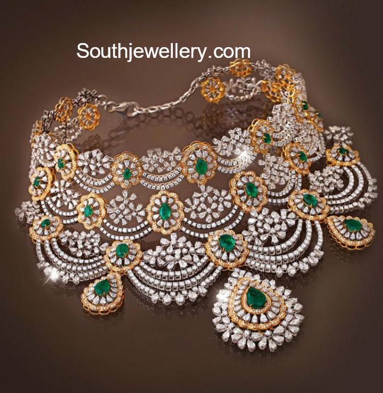 Bridal Diamond Choker Jewellery Designs
