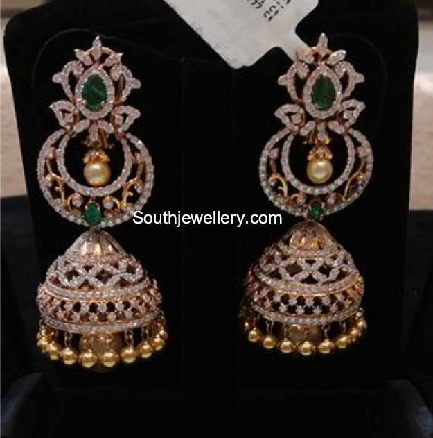 Diamond Emerald Jhumkis Jewellery Designs