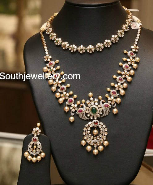 floral polki diamond pacchi necklace and haram