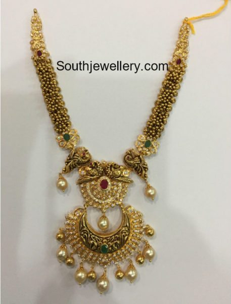 Antique Gold Haram with Chandbali Pendant