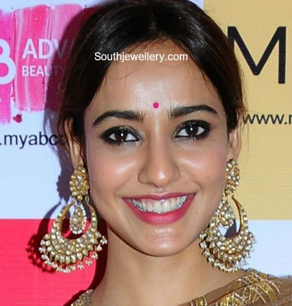 Neha Sharma in Kundan Chandbalis