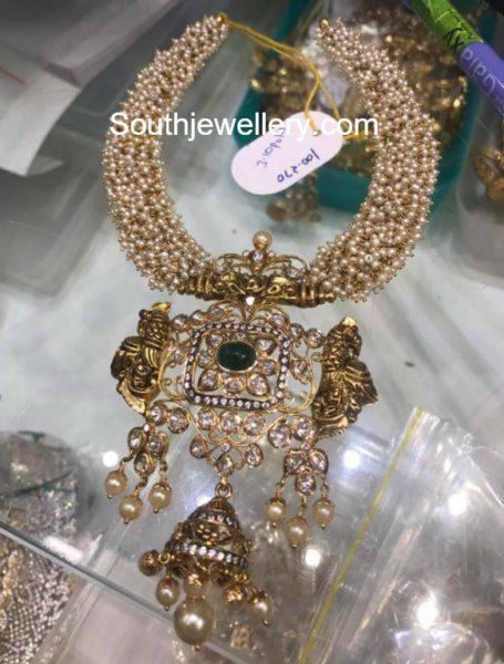 pearls haram polki diamond pendant