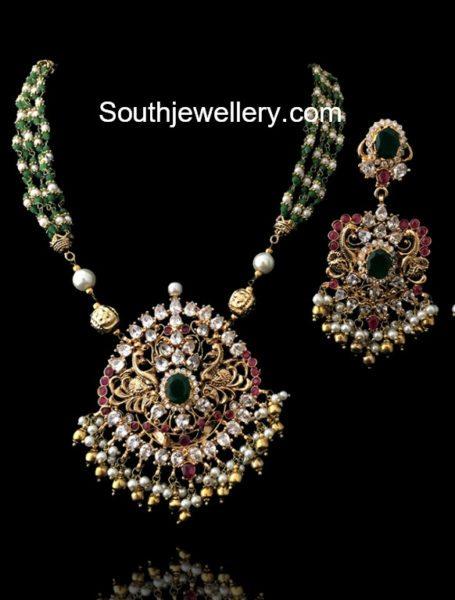 Beads Mala with Polki Diamond Pendant