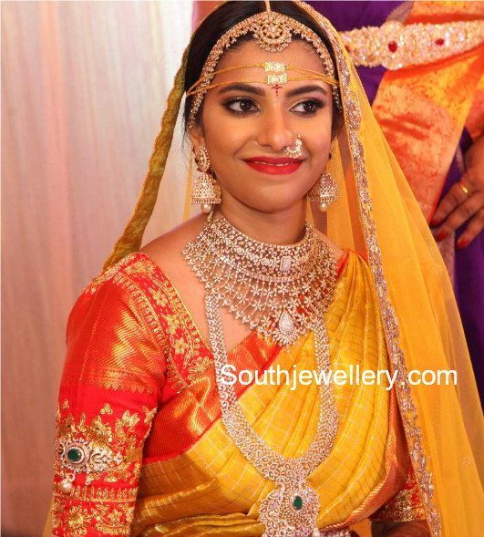 South Indian Bride In Diamond Jewellery Jewellery Designs