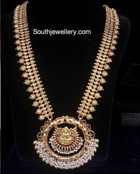Gold Haram with Lakshmi Pearl Pendant