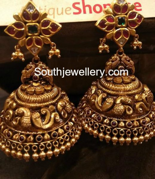 antique gold nakshi jhumkis