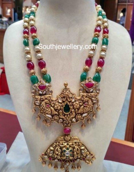 Beads Mala with Nakshi Pendant