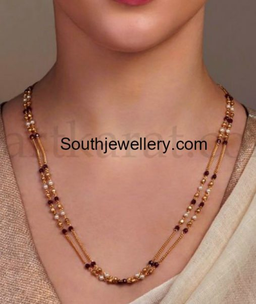 two line black beads mangalsutra chain