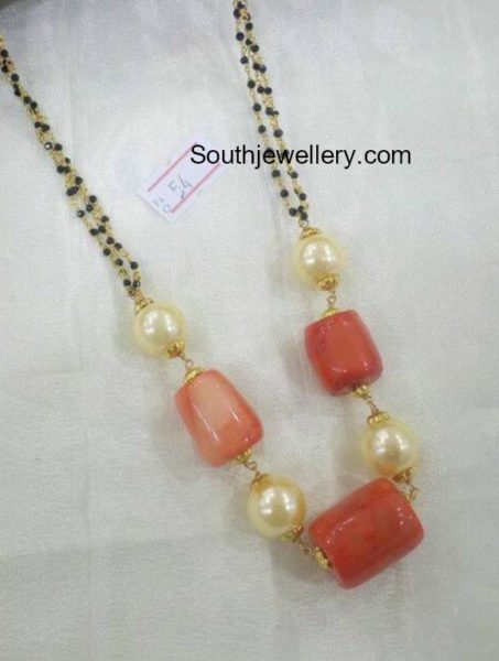 Black Diamonds Mangalsutra Chain with Coral Beads