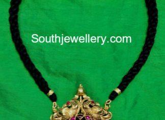 black dori necklace kundan pendant
