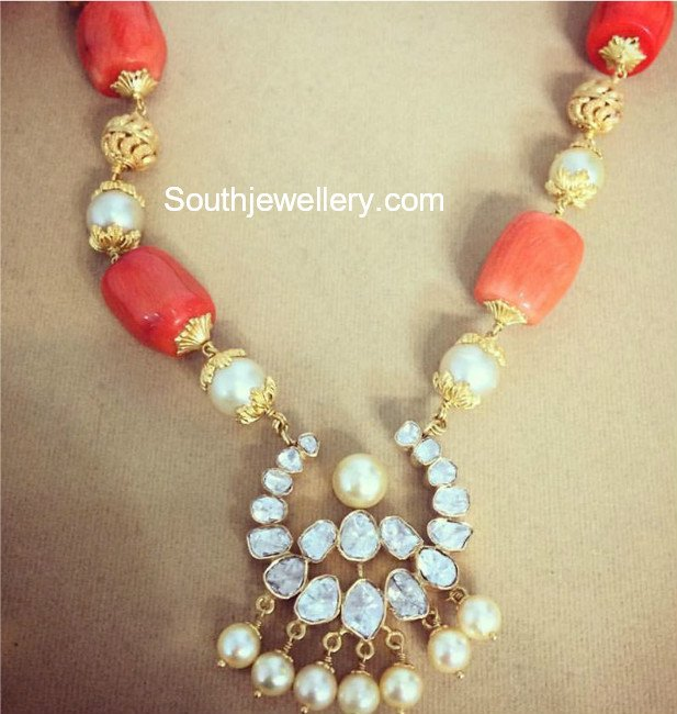 Coral Beads Necklace With Polki Pendant Jewellery Designs