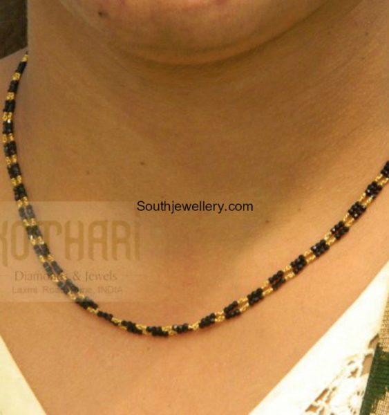 Diamond Cut Black Beads Mangalsutra Chain
